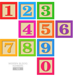 Wooden blocks numbers vector image