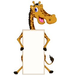 Cute giraffe cartoon with blank sign vector