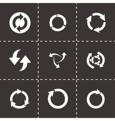 Black refresh icons set vector