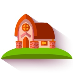 With cute house in flat style vector