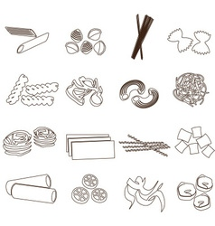 Types of pasta food outline icons set eps10 vector