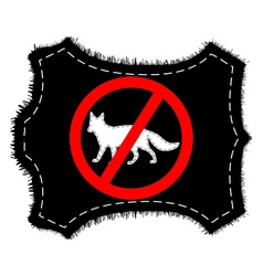 Prohibition sign fox fur vector