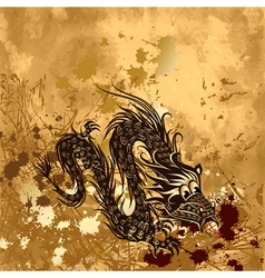dragon on paper grunge vector image