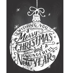 Wishing you a merry christmas chalkboard lettering vector