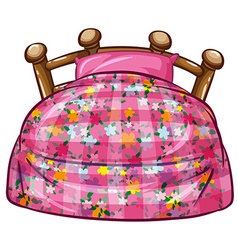 Bed with pink sheet and pillow vector image