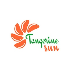 Tangerine slices logo mandarine pieces as a sun vector