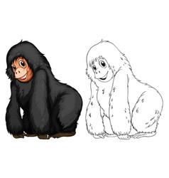 Animal doodle for black chimpanzee vector