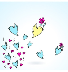 Birds and flower heart love fly group element vector