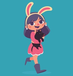 Bunny girl walking holding a puppy vector