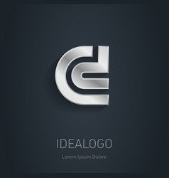 C and D initial silver logo Metallic 3d icon or vector image vector image