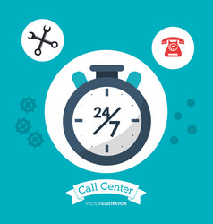 Call center 24h all time service vector