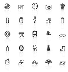 Camping necessary line icons with reflect on white vector