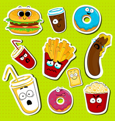 Cartoon fast food cute character face stickers vector