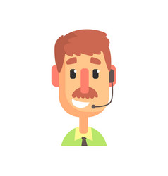 Cheerful male call center agent online customer vector