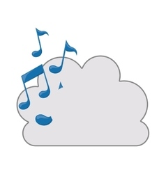 cloud with musical notes icon vector image vector image