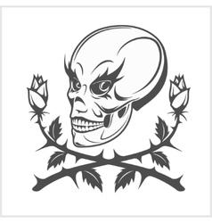 clown skull on white background vector image