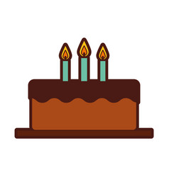 Delicious cake brithday with candles vector