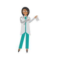 female doctor holding document and stethoscope vector image