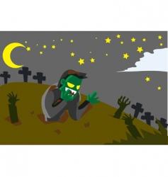 Frankenstein graveyard vector image