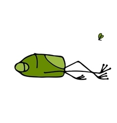 Funny frog sleeping sketch for your design vector image vector image