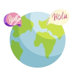 Globe with hello and hola worlds icon vector