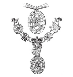 Insignia of the order of st patrick is worn over vector