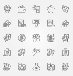 money icons set vector image vector image