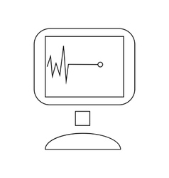 Monitor with cardiac arrest icon outline style vector