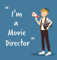 Movie director character with megaphone and vector