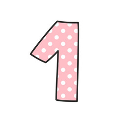 number 1 with white polka dots on pastel pink vector image