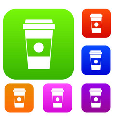 Paper cup of coffee set collection vector