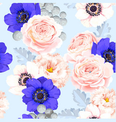Seamless pattern with eustoma and roses vector