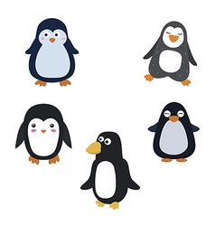 Set of cartoon penguins vector