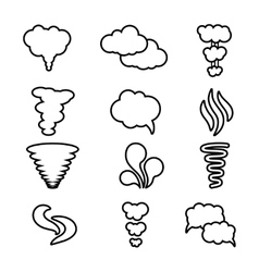 Steam cloud and smoke icons set vector image vector image