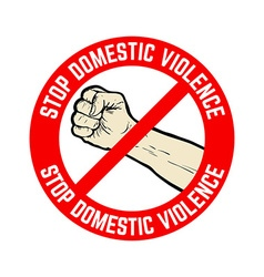 stop domestic violence emblem vector image