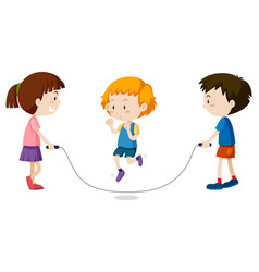 three kids jumping rope vector image vector image