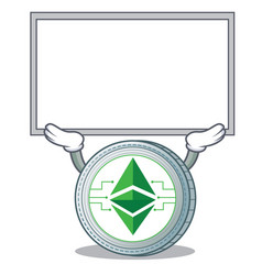 Up board ethereum classic character cartoon vector