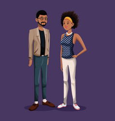 Young couple standing fashion style vector