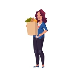 Young pregnant woman holding shopping bag full of vector