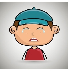 Crying boy with a blue cap vector