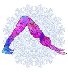 decorative colorful yoga pose over ornate round vector image