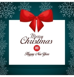 Card greeting ribbon merry christmas design vector