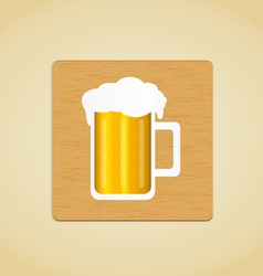 Wooden plate with beer icon vector image