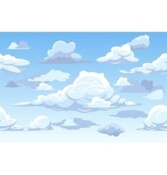 Cartoon blue cloudy sky horizontal seamless vector