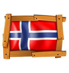 Flag of norway in wooden frame vector