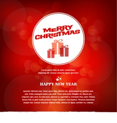 Red Merry Christmas greeting card vector image