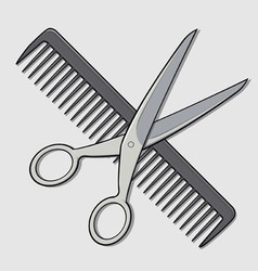 Barber scissor and comb vector