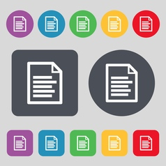 Text file icon sign a set of 12 colored buttons vector