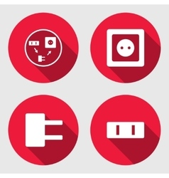 Electric socket base icon set power energy symbol vector