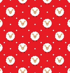 Red seamless pattern with cute sheep vector